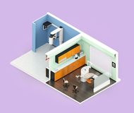 Isometric view of dental clinic interior with Con-Beam CT, dental chair and cabinet system Royalty Free Stock Photo