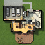 Isometric view of a furnished house Stock Image