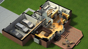 Isometric view of a furnished house Stock Images