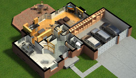 Isometric view of a furnished house Royalty Free Stock Image