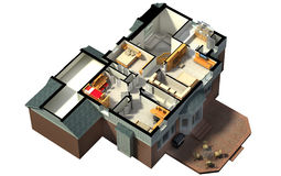 Isometric view of a furnished house Royalty Free Stock Photos