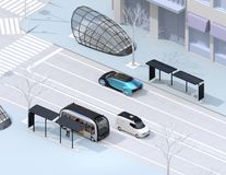 Isometric view of modern city intersection. Autonomous bus in bus stop. Self driving sedan and minivan on the road. 3D rendering image stock illustration