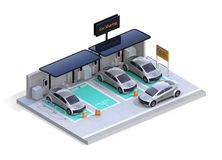 Isometric view of parking lot equipped with charging station, solar panel. Car sharing business. White background. 3D rendering image stock illustration
