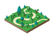 Isometric view projection summer landscape. Royalty Free Stock Images