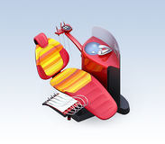 Isometric view of red dental unit equipment  on gradient background Stock Image