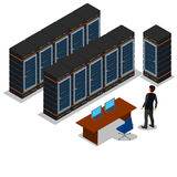Isometric view of the server room. Royalty Free Stock Image