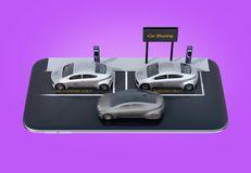 Isometric view of silver electric cars with car sharing billboard on smartphone. Purple background royalty free illustration