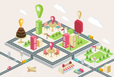 Isometric view, a three-dimensional map of a city Royalty Free Stock Photo