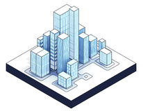 Isometric view to isolated office city 01 Royalty Free Stock Photo