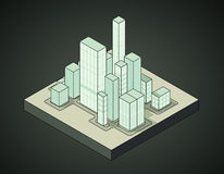 Isometric view to office city night scene 03. Illustration Royalty Free Stock Image
