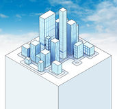 Isometric view to office city sky scene 02. Illustration Stock Images