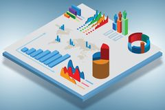 The isometric view of various business charts - 3d rendering stock photo