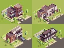 Isometric Villa Compositions Set vector illustration