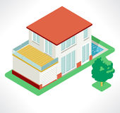 isometric village, vector illustration Royalty Free Stock Photo