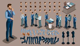 Isometric vintage background, a tailor man, a set of gestures of hands and feet, hairstyles, emotions to create your character. Se. T of tailors for sewing Vector Illustration