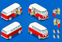 Isometric Volkswagen Bus. In two position and some gadgets Stock Photos