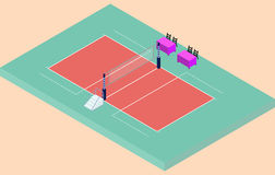 Isometric volleyball stadium with net, sand and judges place Stock Image