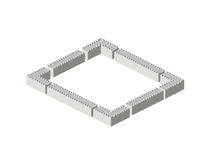 Isometric walls. Isometric view of large stone walls and corners Royalty Free Stock Photos