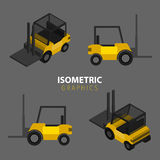 Isometric Warehouse forklift. Flat and isometric illustration Stock Photo