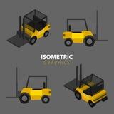 Isometric Warehouse forklift. Flat and isometric illustration royalty free illustration