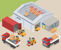 Isometric warehouse industrial scene Royalty Free Stock Images