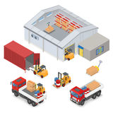 Isometric warehouse industrial scene. Isometric warehouse interior, inside industrial scales, storage racks. The adjacent area are trucks, forklifts, container Stock Images
