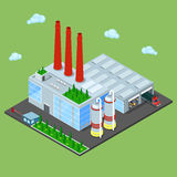 Isometric Warehouse with Industrial Shipping Area Royalty Free Stock Image