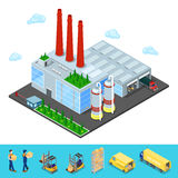 Isometric Warehouse with Industrial Shipping Area. Isometric Warehouse Building with Industrial Shipping Area. Cargo Industry. Vector illustration Stock Photography