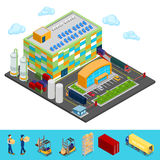 Isometric Warehouse with Industrial Shipping Area Stock Photo