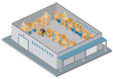 Isometric Warehouse. Interior with forklift,pallets,boxes and shelves Stock Photos
