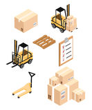 Isometric Warehouse load boxes and barrels to stacks using forklifts. Stock Image