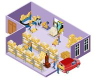 Isometric Warehouse Logistic Template. With workers transporting goods using carts forklift and weighing process before loading isolated vector illustration Royalty Free Stock Images