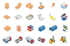 Isometric warehouse and logistics object set Royalty Free Stock Image