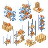 isometric warehouse shelvings cardboard box royalty free illustration