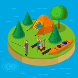 Isometric Water Active Recreation Concept Royalty Free Stock Images