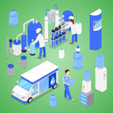 Isometric Water Purification Factory with Workers Inspecting the Quality Production vector illustration