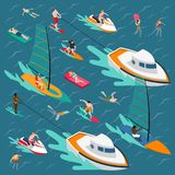 Water Sports Colored People Composition Stock Photo