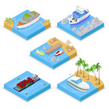 Isometric Water Transportation Set with Cruise and Industrial Ship. Sailing and Shipping. Vector flat 3d illustration Stock Photography