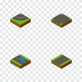 Isometric Way Set Of Crossroad, Road, Unilateral And Other Vector Objects. Also Includes Plash, Strip, Road Elements. Stock Photography