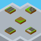 Isometric Way Set Of Footpassenger, Turn, Upwards And Other Vector Objects. Also Includes Flat, Turn, Asphalt Elements. Stock Photos