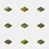 Isometric Way Set Of Plash, Down, Road And Other Vector Objects. Also Includes Bitumen, Road, Downward Elements. Stock Photos