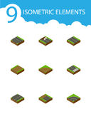 Isometric Way Set Of Repairs, Downward, Upwards And Other Vector Objects. Also Includes Sand, Footpath, Construction Stock Photos