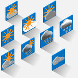 Isometric weather symbols. Stock Photo