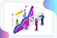 Isometric web banner Data Analisis and Statistics concept. Vector illustration business analytics, Data visualization stock illustration