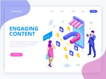 Isometric web banner with Engaging Content, Content Marketing Success, Marketing Mix. Social influencer. Social media. Sharing vector illustration