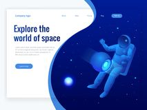 Isometric web banner of explore the world of space concept. Astronaut in outer space, discovery. Vector illustration.  Royalty Free Stock Photo