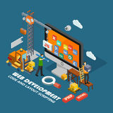Isometric web development concept. Stock Photo