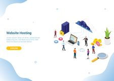 Isometric web or website hosting business service for web or website template landing homepage banner - vector vector illustration