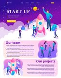 Isometric Bright Startup by Young Entrepreneurs stock illustration