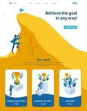 Isometric Build a Career, Succeed at the Top. Isometric Website Template Landing page Build a career, businessman climbs the big Golden mountain, succeed vector illustration